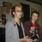 CLASSE Spokesperson Bédard-Wien spoke with students about tuition. (Alexandra Allaire / McGill Tribune)