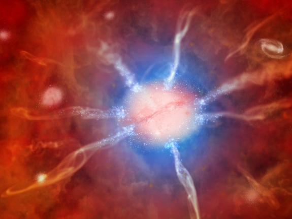 An artist's rendition of the Phoenix Cluster­—a recent black hole revelation. (www.space.com)