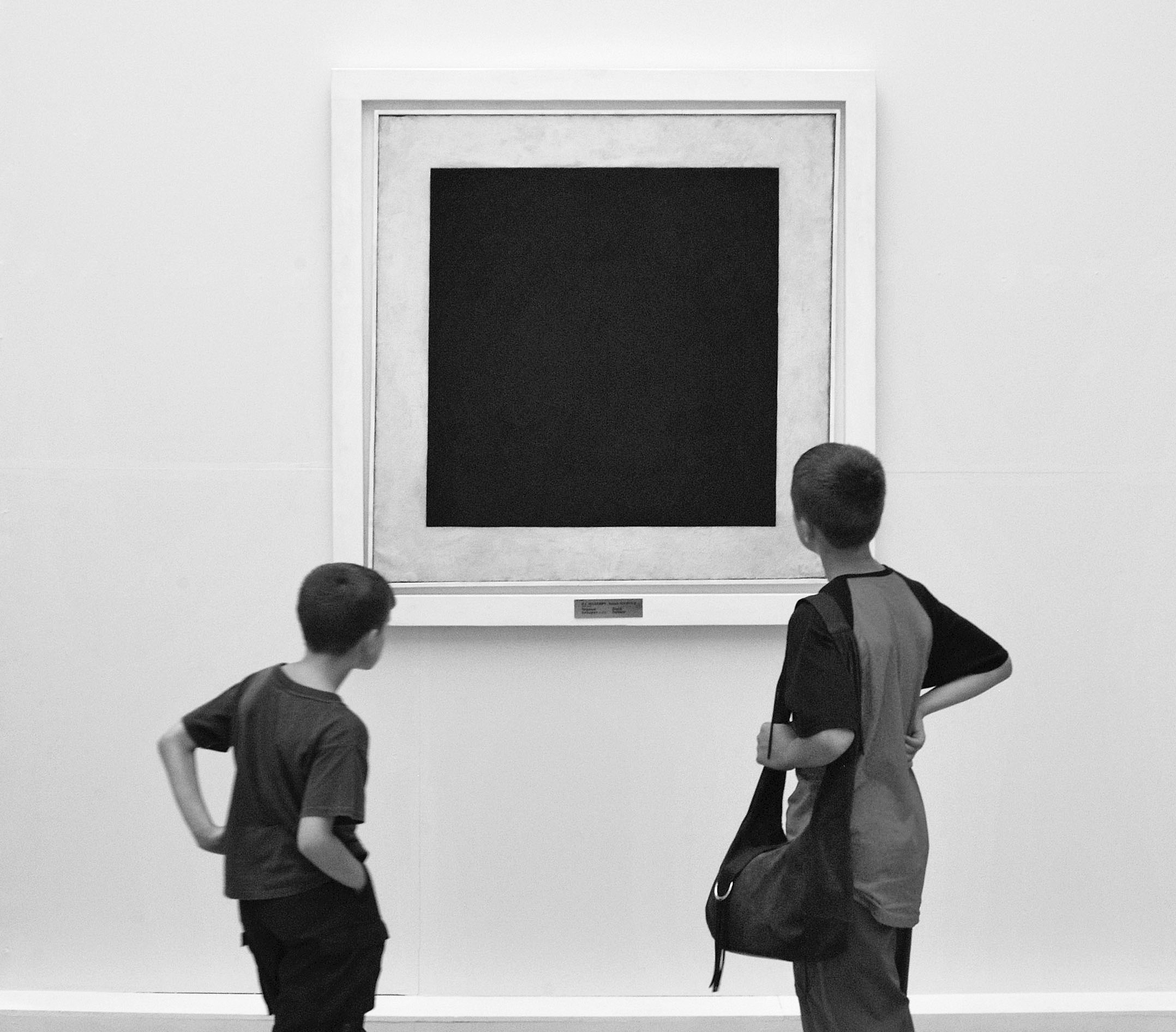 """Museum-goers baffled by Malevich's """"Black Square."""" (www.sergeev.com)"""