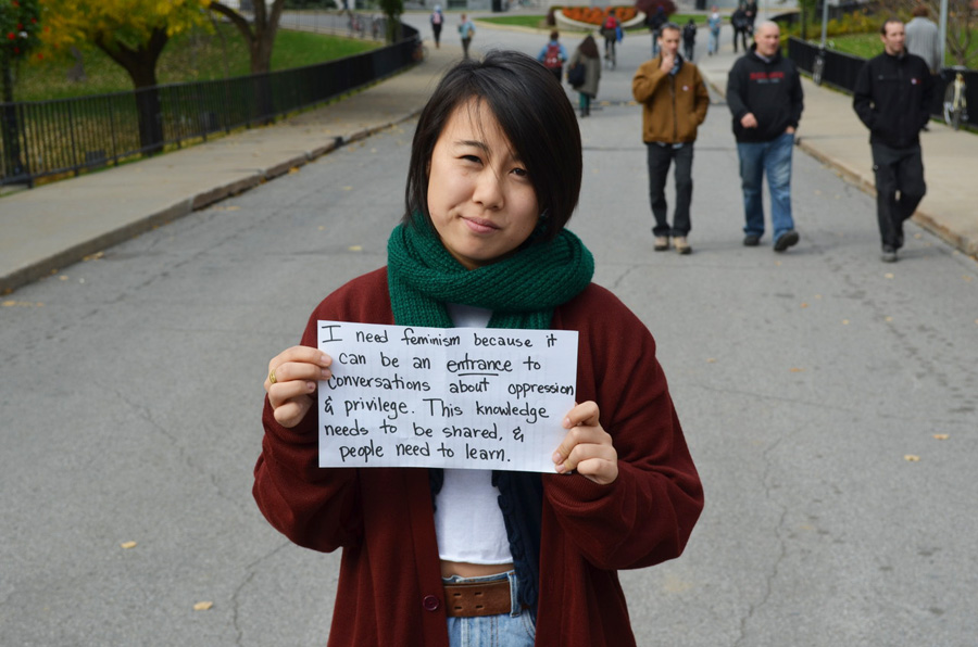 """Participants of """"Who Needs Feminism?"""" week wrote personalized signs for the photo shoots. (wnfmcgill.tumblr.com)"""