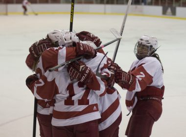 Mélodie Daoust celebrates with her teammates after scoring a goal. (Luke Orlando / McGill Tribune)