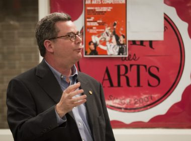 Dean Manfredi speaks to students about course reductions planned by the faculty. (Simon Poitrimolt / McGill Tribune)