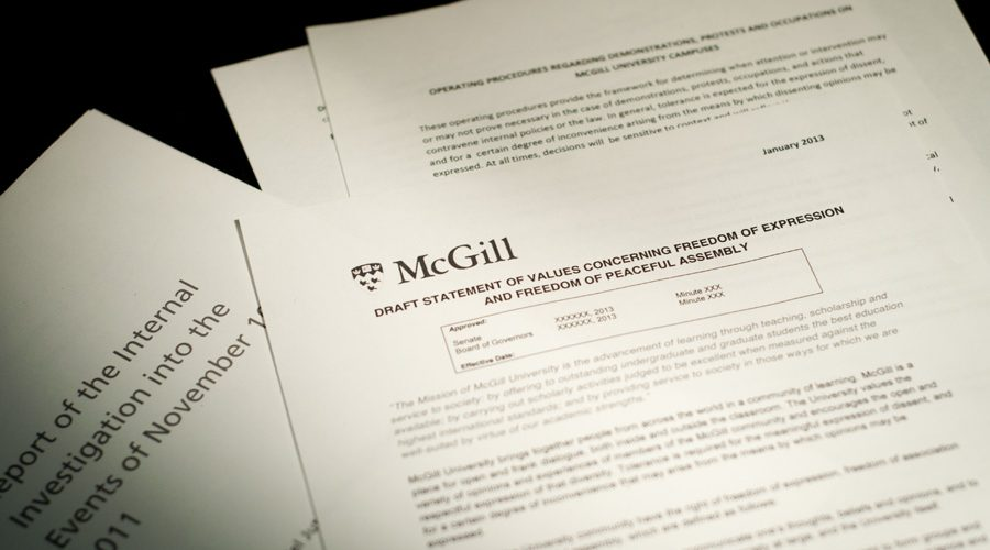 McGill will host two Consultation Fairs to discuss the new Statement of Values and Operating Procedures. (Simon Poitrimolt / McGill Tribune)