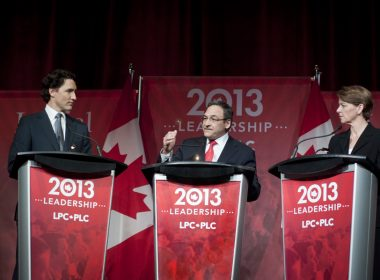 Liberal leadership candidates Trudeau, Cauchon, and Hall Findlay debate on Saturday. (Simon Poitrimolt / McGill Tribune)