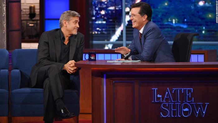 Stephen Colbert and George Clooney