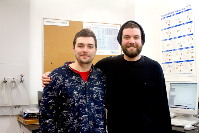 Rob Harkness (left) and Justin Di Trani (right) have been working on their PhDs for four years. (Natalie Vineberg / McGill Tribune)