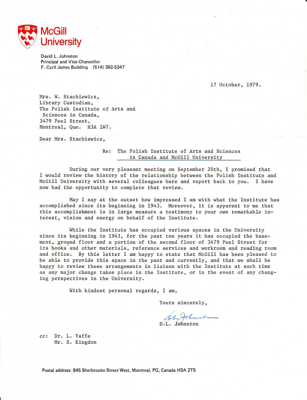 Letter sent to PIASA in 1979 by Principal Johnston / (Courtesy of PIASA archives)
