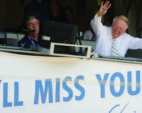 Vin Scully's last hurrah. (photo courtesy of ABC7.com)