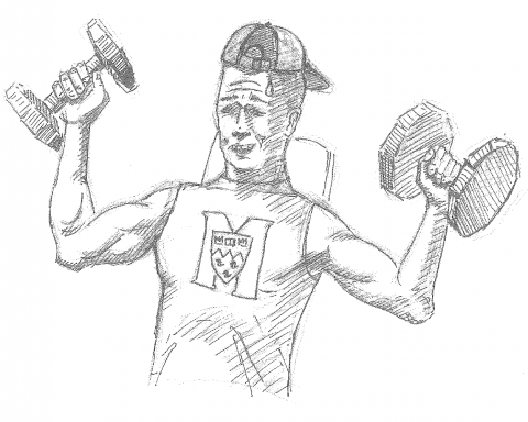A McGill gym bro demonstrates proper form, technique, and physical prowess. (Ceci Steyn / The McGill Tribune)